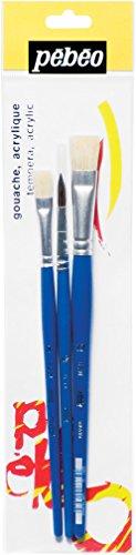 Pébéo 828019 Eveil Artistique Pochette de 3 Pinceaux de N° 8/12/14 1 Poney Pur Rond + 2 Soies Beau Plats Blanc