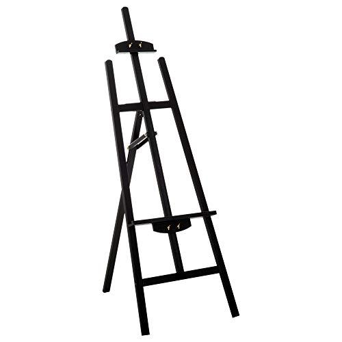 lrahmen Atelierstaffelei 90° einstellbar mit Halterung Buche Schwarz L46 x B60 x H140 cm ()