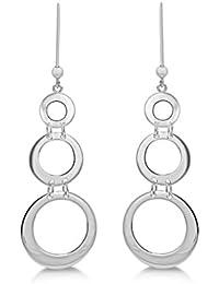 Tuscany Silver Ohrhänger Rhodiniert Sterling Silber Dreifach Geschnitten Kreis abgestuft/gestaffelt