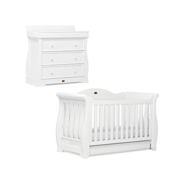 Boori Sleigh Royale 2 Piece Nursery Room Set, Wood, Barley White Boori Boori 2 piece nursery furniture set including the Sleigh Royale Cot Bed and Sleigh 3 Drawer Chest with removable changing station. Cot bed made with 100% sustainable solid wood, dresser made with sustainable solid wood parts. All Boori cot beds convert to a toddler bed suitable from birth to 5 years. (Toddler Guard Panel available separately). 1