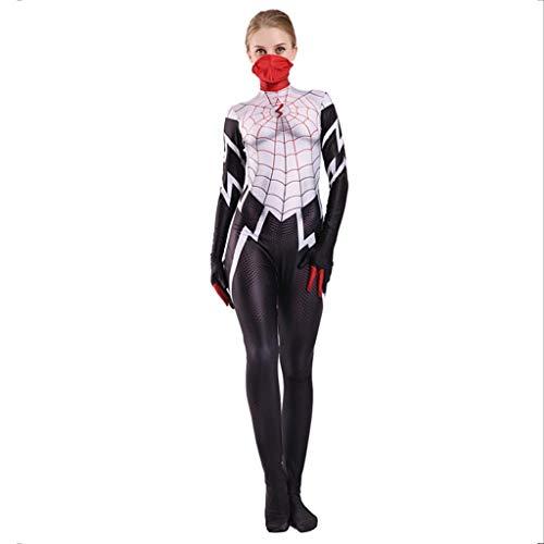 nihiug Spiderman Weiblich Grün Rot Schwarz Spinne Anime Kostüm Adult Party Kostüm Halloween Kostüm Cosplay,White-XL(170to180)