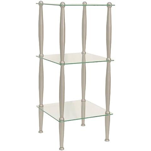 Moorefield Beacon Series 3 Tier Glass Shelf, Brushed Nickel by Moorefield