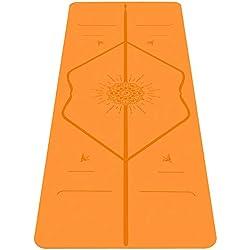 Liforme Esterilla De Yoga Happiness - Mejor Estera De Yoga del Mundo con Sistema De Alineación Patentado - Yoga Mat Ecológica y Completamente Antideslizante - Edición Especial Happiness - Naranja