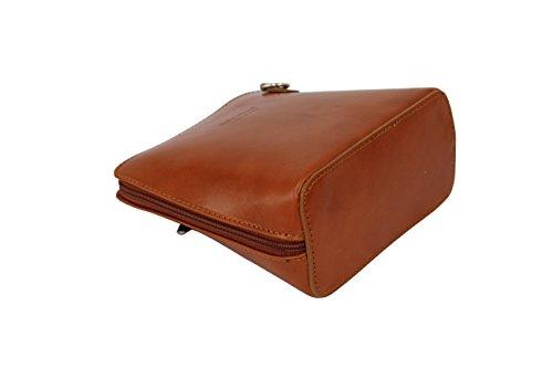 AMBRA Moda - Borsa di pelle a tracolla Donna, borsa piccolo cognac