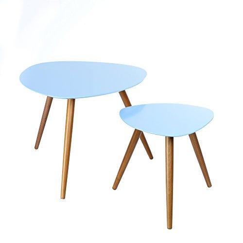 Set di 2 tavolini sovrapponibili, perfetti in ogni stanza della vostra casa - Colore AZZURRO