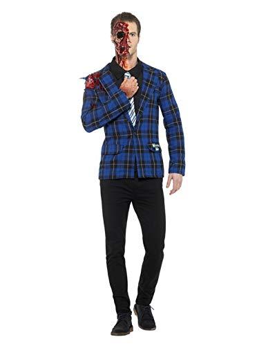 änner Männer Breaking Bad Gustavo Fring Kostüm mit Jacke, Hemd mit Krawatte, Fake-Blut und Klebstoff, perfekt für Karneval, Fasching und Fastnacht, M, Blau ()