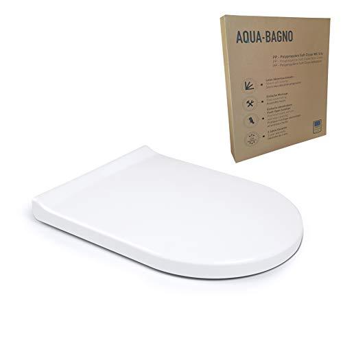 Aqua Bagno Pearl D-Form Premium - sedile WC di alta qualità in polipropilene con chiusura softclose ed estraibile - sedile WC - coperchio WC easyclean