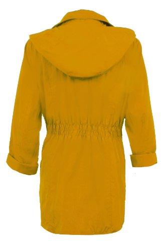 Saphir Damen Abnehmbarer Kapuze Gekrempelt Langärmlig Damen Schauerfest Jacke Mantel Mustard