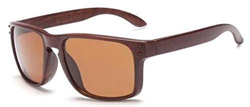 Sonnenbrille,Classic Mens Sonnenbrille Uv400 Vintage Sonnenbrillen Für Fahren Schwarze Rahmen Holzmaserung Gläser Männer Nieten Brillen Braun Und Kaffee