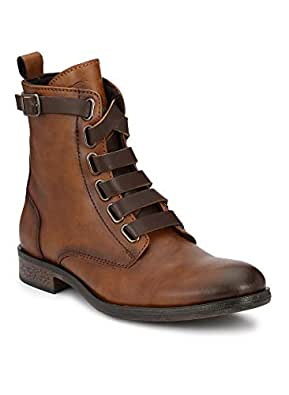 Delize Black/Brown Rugged High Ankle Boots for Men's