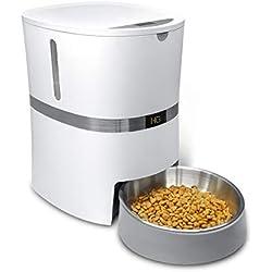 honeyguaridan A36 Distributeur Automatique pour Animaux Domestiques, Chien Chat Distributeur de Nourriture&Gamelle en INOX, Contrôle de Portion et Enregistrement Vocal- Supporte Batterie et Adaptateur