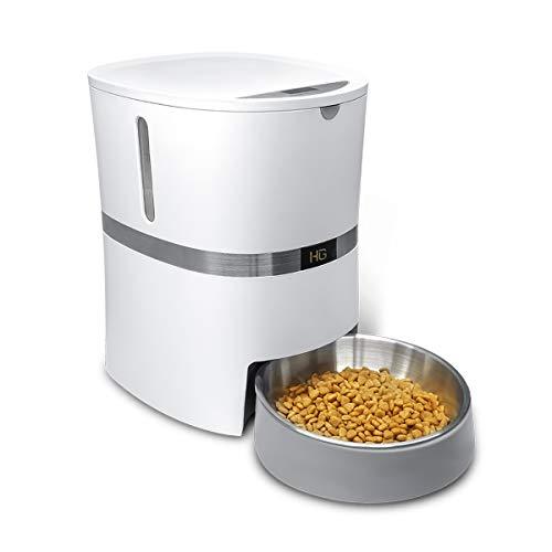 HoneyGuaridan Comedero Automático para Perros y Gatos, Dispensador de Comida con Bol...