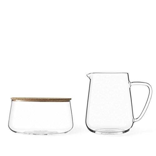 VIVA scandinavia eleganter Designer Milch und Zucker-Set aus Glas mit Edelstahl-Löffel, sehr leicht und dünnwandig, bleibt klar