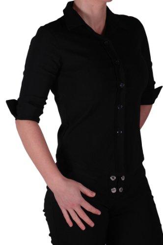EyeCatch - Chemisier moulant stretch basique - Femme Noir