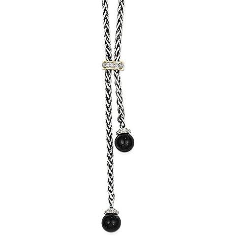 Sterling Silver w / 14k Onyx & Diamond Lariat Necklace