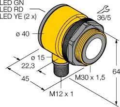 Turck Ultraschallsensor T30UXIAQ8 analog 4-20mA Ultraschall Taster 0662488804817