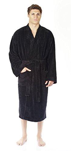 Arus Herren-Kimono-Bademantel aus Fleece, türkischer weicher Plüsch - Schwarz - Large/X-Large