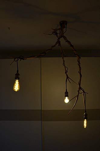 Lampadario da soffitto a sospensione con ramo di ulivo essicato marrone beige e rosone con tre portalampada vintage plafoniera in legno camera da letto design