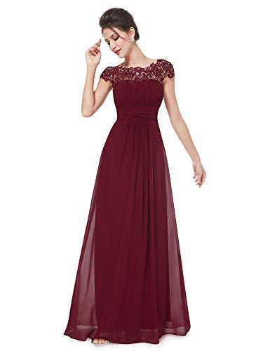 Ever-Pretty Vestito da Sera Donna Lungo in Chiffon Maniche Corte Impero in Pizzo Borgogna 50
