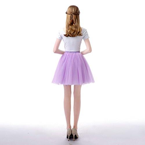 Feoya Tutu en Tulle Femme Ballet Jupe Courte Jupon Tutu Skirt Danse Spectacle Taille unique Élastique 60-95 CM Violet pâle