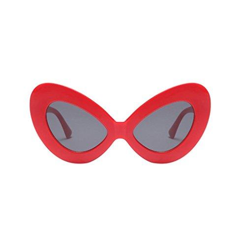 Pilot Dessous (CLOOM Frauen Vintage große ovale Form Sonnenbrille Retro Brillen Hippie Damen Eyewear Große Rahmen Katzenaugen Sonnenbrille Mode Sonnenbrille kühl Brille Damen Sonnenbrille Integriertes UV Brille (E))
