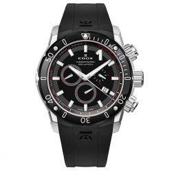 EDOX hombre CO-145mm negro carcasa de goma banda de acero cristal de zafiro reloj analógico de cuarzo suizo 102213NIN