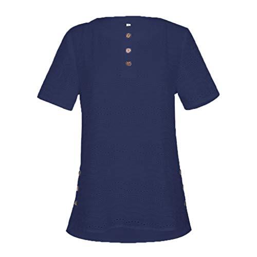 Damen Top,ALISIAM Sommer Elegant Lang Mode Oberteile Weinlese BeiläUfiges HöHlen Heraus Oansatz Kurzschluss HüLsen Knopf Oberseiten Blusen T-Shirt Aus - Jeans Unter 10 Süße Dollar