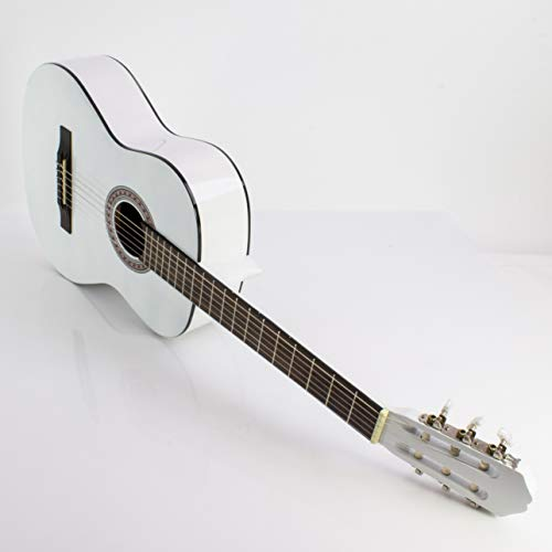 Guitarra de concierto FIDEL con bolsa para llevar, 4/4, blanca - Guitarra clásica / Guitarra para principiantes - klangbeisser