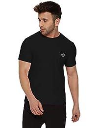 4b5b6c2543af CHKOKKO Round Neck Regular Fit Dry Fit Stretchable Yoga Gym Sports Tshirts  for Men Black Solid