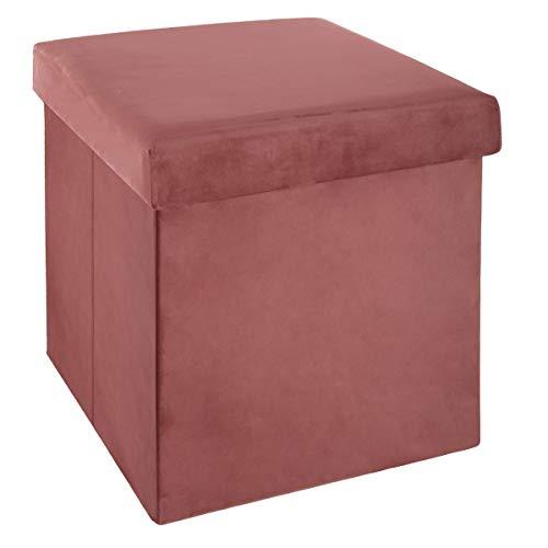 ATMOSPHERA Sitzhocker, zusammenklappbar, Samt, Rosa, 38 x 38 cm, Rose Moyen, cm
