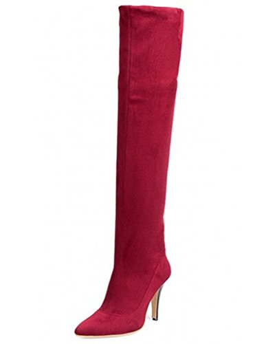 Minetom Damen Winter Stiefel Über Knie Spitze Toe Stiefel Hoch Fest Stiefel Hoch Dünn Heel Stiefel Rot EU (Hohe Knie Für Stiefel Frauen Red)