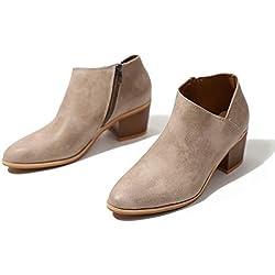 Botines Mujer Tacon Medio Invierno Planos Tacon Ancho Piel Botas Botita Moda 5cm Casual Planas Zapatos Calzado Caqui Rosa Azul Negros 35-43 KH42