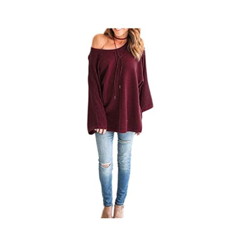 Koly_Le donne casuale allentato maglione del pullover a maniche lunghe Acrilico (S, rosso)