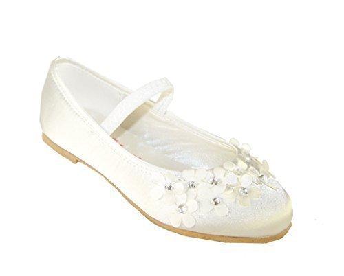 Mädchen elfenbein satin blumenmädchen ballerina schuhe - 35 (Elfenbein-blumen-mädchen-schuhe)