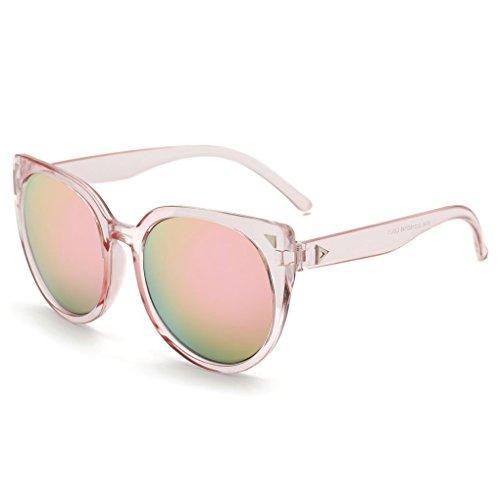 Flypv Gafas de Sol UV400 de Moda y Retro Marco del Plástico Lentes de Efecto Espejo Durante Actividades al Aire Libre para Mujer (Marco Rosa claro/ lentes rosa)