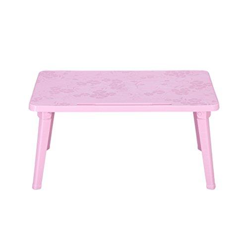 GHM Klapptisch Laptops Tabelle PP Kunststoff Tragbare Klappbett Upper Use Dorm Lernen Kleines Buch Schreibtisch Rechteck (L60cm * W40cm * H29cm) (Farbe : Pink) - Kaffee-tisch-bücher Pink