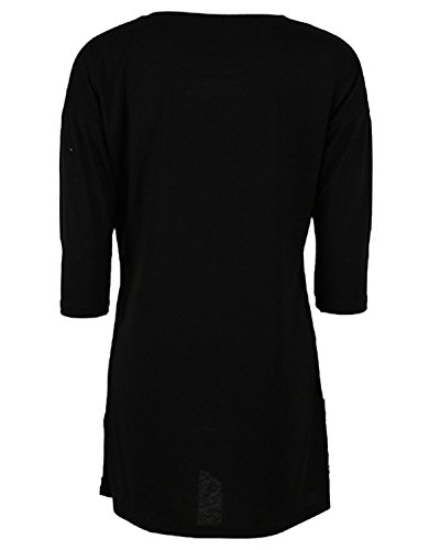 Auxo Damen 1/2 Arm Sommer Slim Lose Party Club T-Shirt Langshirt Minikleid Tops Schwarz
