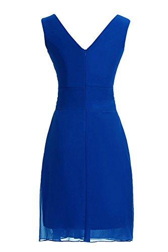 Sunvary Neu Rundkragen Abendkleider Kurz Chiffon Ballkleider Partykleider Royal Blau