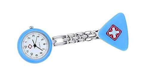 Schöne Dreieck Form blau Fob Uhr für Krankenschwester Revers Pin Brosche hängende Taschenuhr mit Quarz-Bewegung