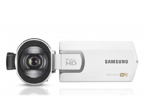 Samsung hmx-qf30 videocamera full hd, 5 megapixel, zoom ottico 20x, display lcd da 6.9cm (2,7 pollici), wi-fi, bianco
