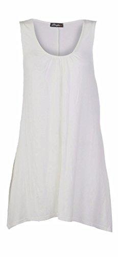 Fast Fashion - Robe Plus La Taille Sans Manches En Viscose Plaine D'oscillation De Maillot - Femmes Crème 1
