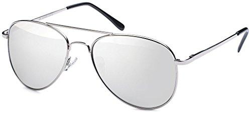 Premium Set, Pilotenbrille Verspiegelt Fliegerbrille Sonnenbrille Pornobrille Brille mit Federscharnier (84 | Rahmen Silver - Glas Silver verspiegelt)