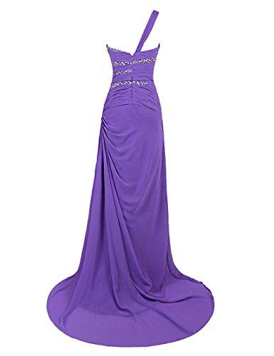 Dresstells, Robe de soirée de mariage Robe de cérémonie Robe de gala épaule asymétrique traîne moyenne pailletée Gris