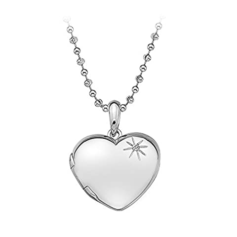 Hot Diamonds Memoirs Heart Locket Silver Pendant with Chain of Length 40-46cm Extension