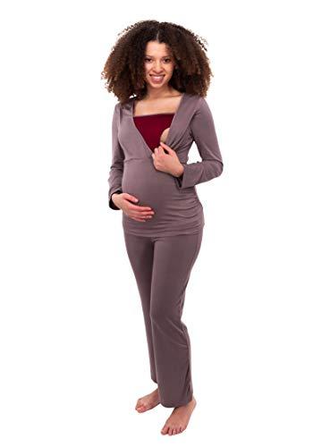 Herzmutter Stillpyjama-Umstandspyjama - Zweifarbiger Schlafanzug für Damen - Nachtwäsche für Schwangerschaft-Stillzeit - Pyjama-Set mit Stillfunktion - Lang-Langarm - 2700 (L, Taupe/Rot) -