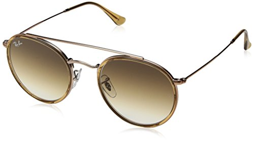 RAYBAN JUNIOR Unisex-Erwachsene Sonnenbrille Round Double Bridge Light Brown/Cleargradientbrown, 51