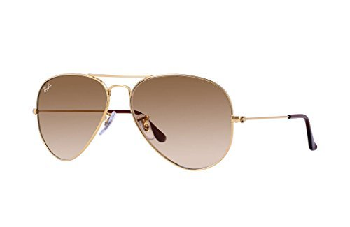 Ray-Ban RB3025 Aviator Large Metal Gradient Unisex Sunglasses (Gold Frame/Crystal Brown Gradient Lens 001/51, 62)