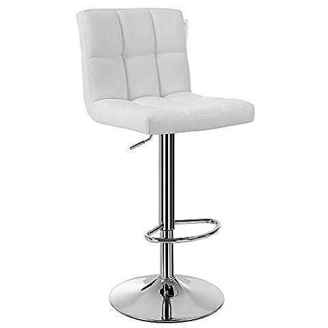 Songmics 1 x Chaise et Tabouret de bar avec Dossier blanc hauteur réglable 95-115 cm Blanc LJB64W-1