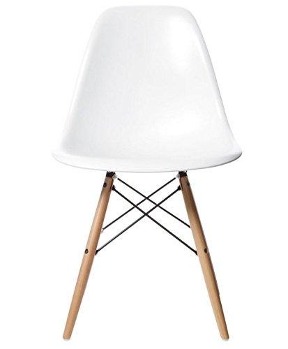 AHOC Charles & Ray inspiriert Eiffel DSW Retro Design Wood Style Stuhl für Büro Lounge Küche–weiß (1) - Kunststoff-stuhl Moderner