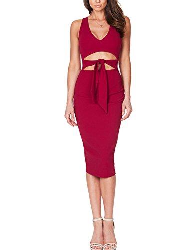 Junshan Damen Mini Kleid mit tiefer V-Kragenschnitt Dew Navel mit reinem Farb Kleid (36, Rot)